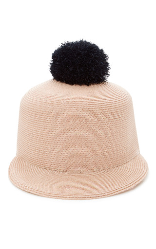 Medium eugenia kim light pink loulou pompom embellished woven hat