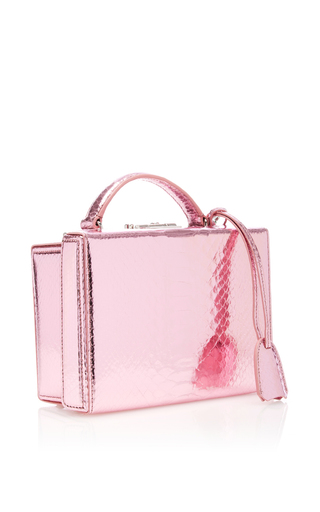 Python Metallic Grace Small Box Bag by MARK CROSS for Preorder on Moda Operandi