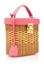 Raspberry Pink Pebble Grain Benchley Rattan Bag by MARK CROSS for Preorder on Moda Operandi