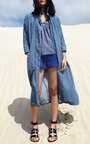 High Waist Blue Merida Shorts by APIECE APART for Preorder on Moda Operandi