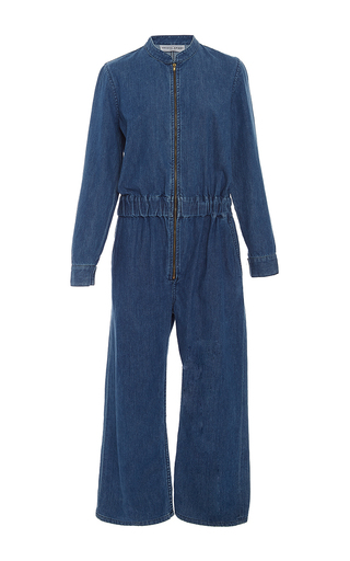 Medium apiece apart blue jardin denim jumpsuit