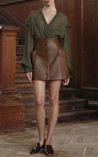 V Neck Flounced Blouse  by ULYANA SERGEENKO for Preorder on Moda Operandi