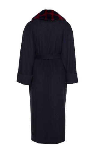 Cashmere Coat With A Geometric Styled Fur Collar by ULYANA SERGEENKO for Preorder on Moda Operandi