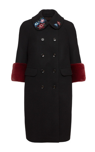 Double Breasted Floral Embroidered Coat by ULYANA SERGEENKO for Preorder on Moda Operandi