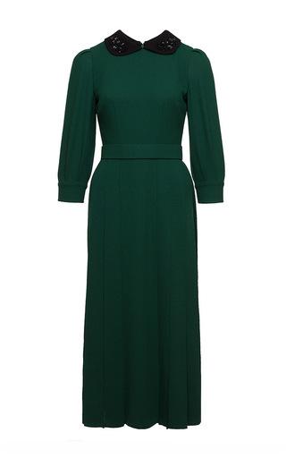 Medium ulyana sergeenko green macrame applique collared midi dress