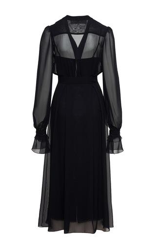 Blue Bishop Sleeved Ruffle Midi Dress by ULYANA SERGEENKO for Preorder on Moda Operandi