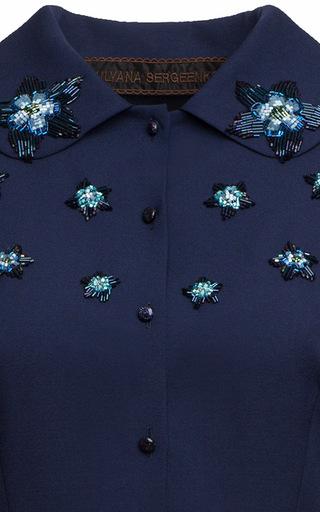 Macramé Appliqué Pleated Midi Dress by ULYANA SERGEENKO for Preorder on Moda Operandi