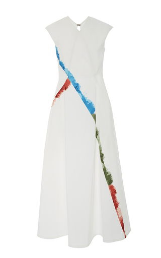 Medium tomas maier white short sleeve water colored dress