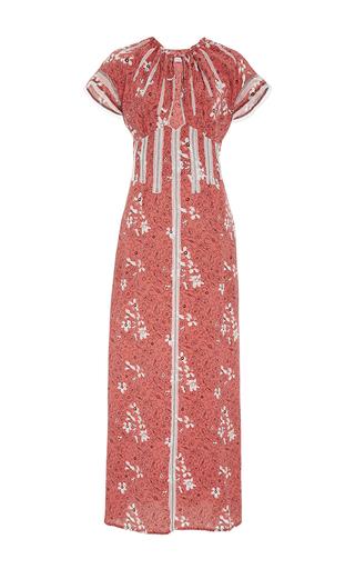 Medium tomas maier print short sleeve floral plunging dress