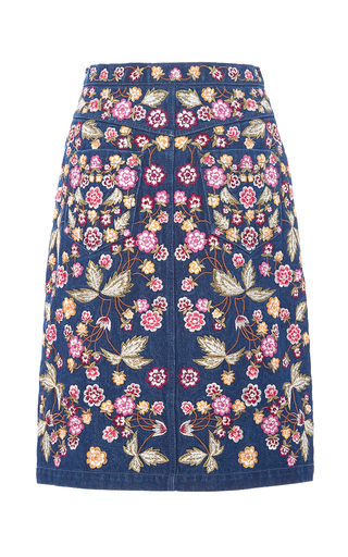 Wild Flower Denim Skirt by NEEDLE & THREAD for Preorder on Moda Operandi