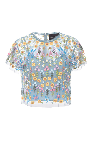 Medium needle thread light blue flowerbed embroidered top