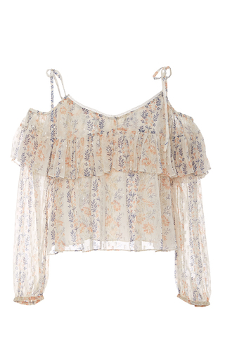 Floral Stripe Cold Shoulder Top by NEEDLE & THREAD for Preorder on Moda Operandi