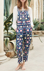 Flower Foliage Embroidered Overalls by NEEDLE & THREAD for Preorder on Moda Operandi