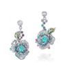 Rose Ribbon Collection   Rose Ribbon Earrings In Paraiba Tourmaline by ANNA HU HAUTE JOAILLERIE for Preorder on Moda Operandi