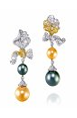 Rose Ribbon Collection   Rose Ribbon Earrings In Pearl  by ANNA HU HAUTE JOAILLERIE for Preorder on Moda Operandi