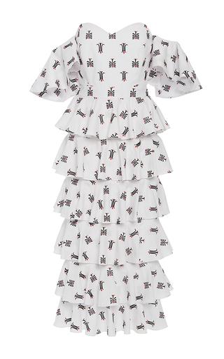 Irene Ruffle Midi Dress by CAROLINE CONSTAS for Preorder on Moda Operandi