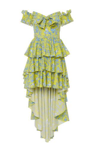 Artemis Ruffled Asymmetric Dress by CAROLINE CONSTAS for Preorder on Moda Operandi