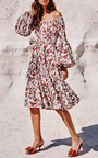 Gisele Tea Length Dress by CAROLINE CONSTAS for Preorder on Moda Operandi