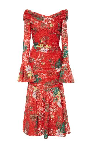 Medium caroline constas red leda wrap lace dress