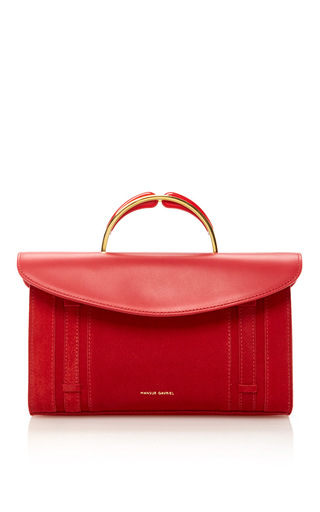 Medium mansur gavriel red calf suede satchel