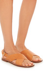 Flat Vegetable Tanned Crossover Sandal by MANSUR GAVRIEL Now Available on Moda Operandi