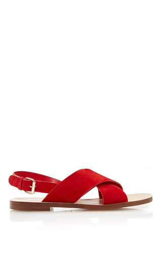 Flat Suede Crossover Sandal by MANSUR GAVRIEL Now Available on Moda Operandi