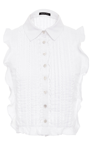 Marcie Cropped Ruffle Blouse by MARISSA WEBB for Preorder on Moda Operandi