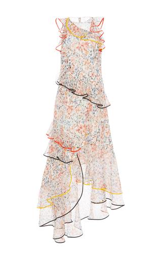 Medium sachin babi floral swan floral print asymmetric gown