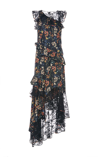 Titiana Lace And Floral Asymmetric Gown by SACHIN & BABI for Preorder on Moda Operandi