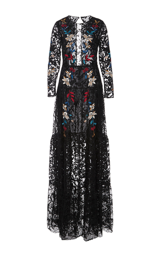 Medium sachin babi black dupont embroidered lace gown