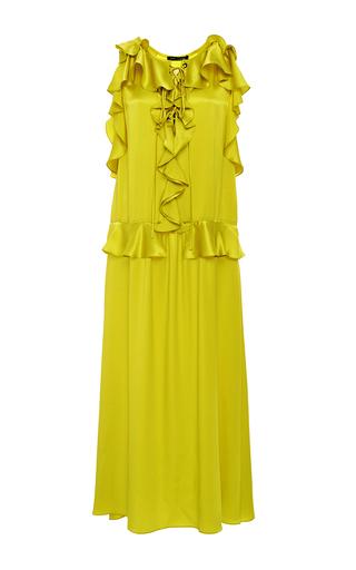 Saige Lace Up Ruffle Midi Dress by MARISSA WEBB for Preorder on Moda Operandi