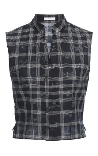 Medium tome plaid chinoise band collar vest