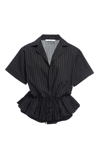 Medium tome stripe ruffled drawstring shirt