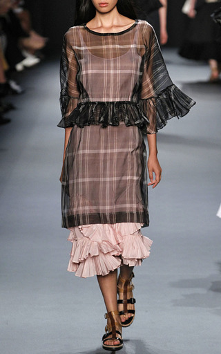 Gingham Ruffled Dress by TOME for Preorder on Moda Operandi