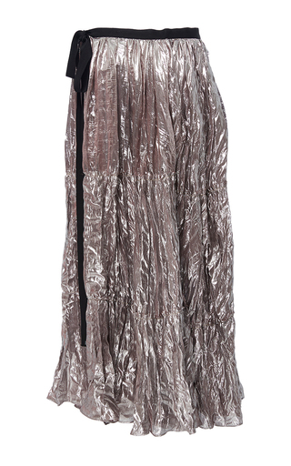 Silk Lamé Tiered Wrap Skirt by TOME for Preorder on Moda Operandi