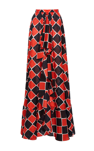 Medium tome print gathered front skirt