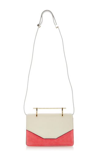Suede Indre Cross Body Bag Ivory And Bright Pink by M2MALLETIER for Preorder on Moda Operandi