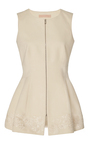 Tanya Embroidered Cotton Trench Zipper Top by BROCK COLLECTION for Preorder on Moda Operandi