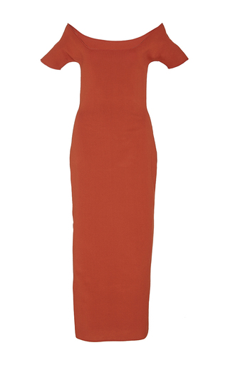 Medium brock red kate crepe viscose knit dress