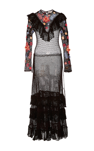 Medium ulla johnson black calliope crochet midi dress