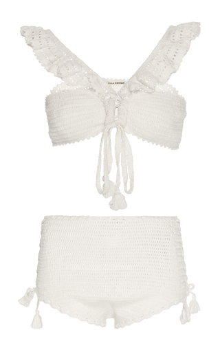 Medium ulla johnson ivory lucinda crochet high waist bikini