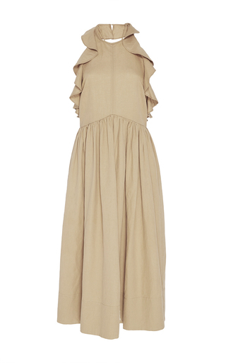 Medium ulla johnson tan cecily ruffle dress