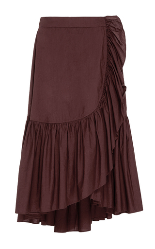 Medium ulla johnson brown camila ruffle wrap skirt