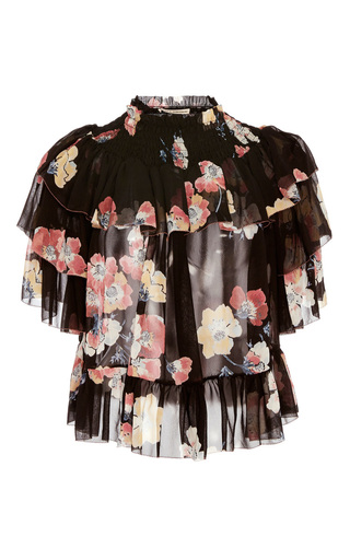 Liv Ruffle Floral Blouse by ULLA JOHNSON for Preorder on Moda Operandi