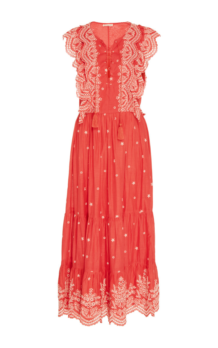 Vera Lace Up Embroidered Dress