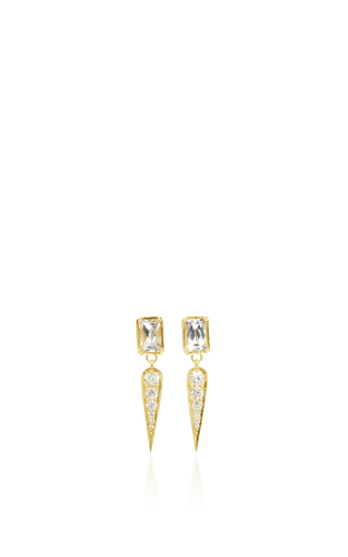 Medium ila collection gold claude in white earrings