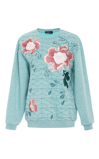 Embroidered Flower Crew Neck Sweater by ALENA AKHMADULLINA for Preorder on Moda Operandi