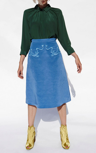Embroidered A Line Midi Skirt by ALENA AKHMADULLINA for Preorder on Moda Operandi