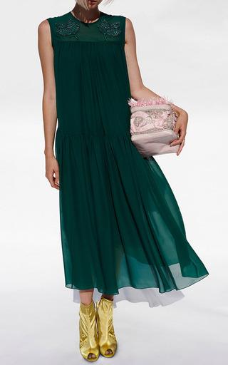 Embroidered Drop Waist Silk Dress by ALENA AKHMADULLINA for Preorder on Moda Operandi