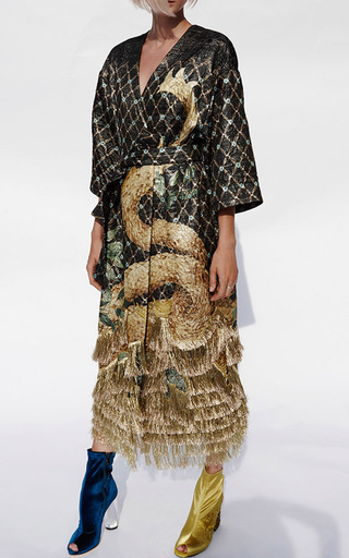 Fringe Detail Quilted Dragon Coat by ALENA AKHMADULLINA for Preorder on Moda Operandi